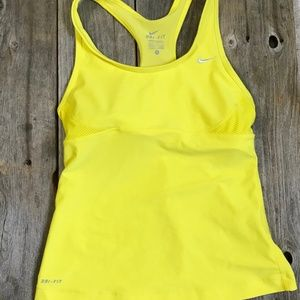 Nike Dri-Fit Yellow Workout Tank With Shelf Bra